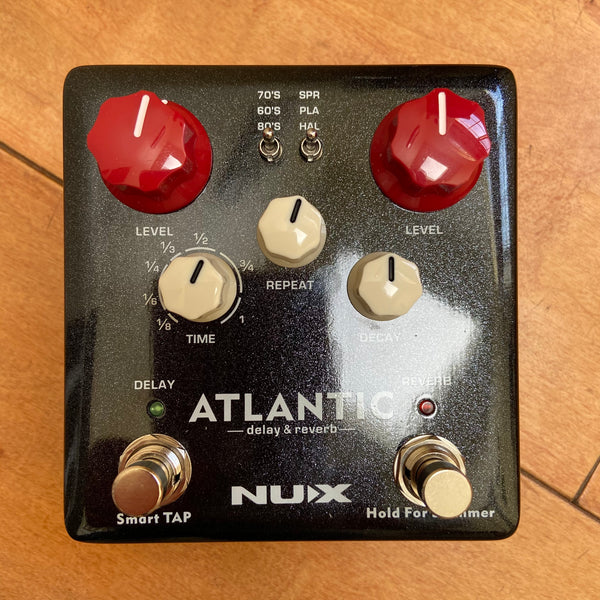 NuX Atlantic Delay and Reverb Pedal White Knobs Open Box-ThePedalGuy