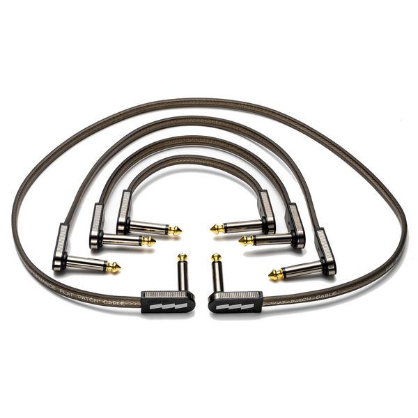 "EBS PCF-HP-18 18cm (7.09"") High Performance Black Gold Flat Patch Cable Angle-Angle-ThePedalGuy"