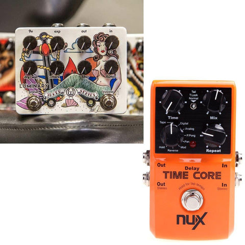 Walrus Audio Luminary Quad Octave Generator Pedal - Inked Series and NuX Time Core Delay Pedal-ThePedalGuy