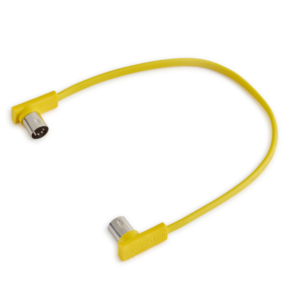 "Rockboard Flat Patch MIDI Cable, 11.81"" Yellow-ThePedalGuy"