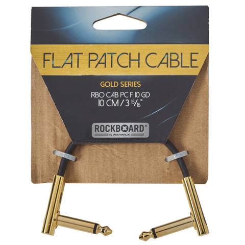 "RockBoard Flat Patch Cables 3.94"" Gold-ThePedalGuy"