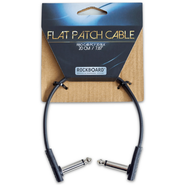 "RockBoard Flat Patch Cables 7.87"" Black-ThePedalGuy"