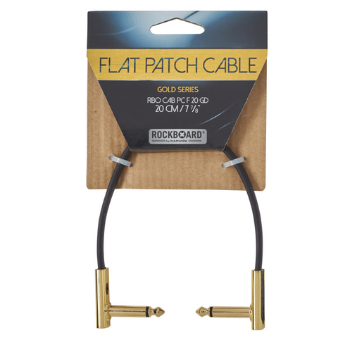 "RockBoard Flat Patch Cables 7.87"" Gold-ThePedalGuy"