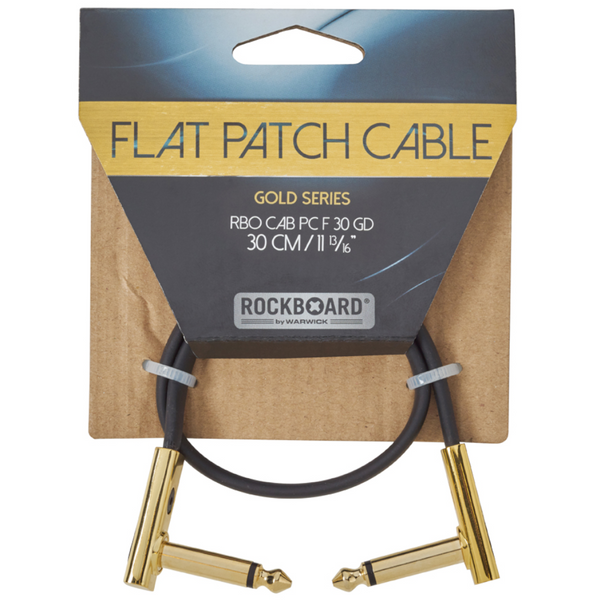 "RockBoard Flat Patch Cables 11.81"" Gold-ThePedalGuy"