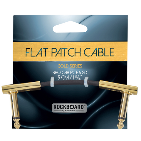"RockBoard Flat Patch Cables 1.97"" Gold-ThePedalGuy"