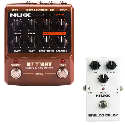 NUX ROCTARY Simulator & Polyphonic Octave Effects Pedal Bundle with AD-3 Analog Delay-ThePedalGuy