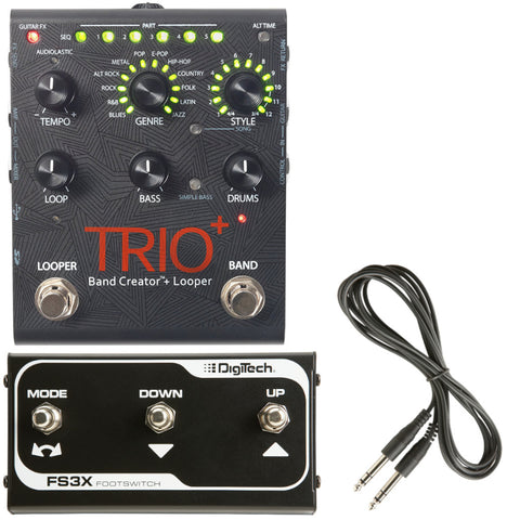 DigiTech Trio+ Band Creator and Looper Pedal Bundle with FS3X Footswitch-ThePedalGuy