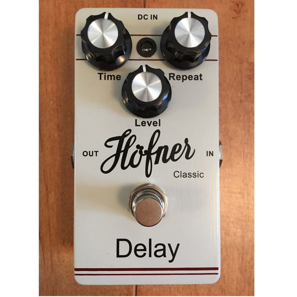 Hofner Delay Guitar Pedal with Two Patch Cables-ThePedalGuy