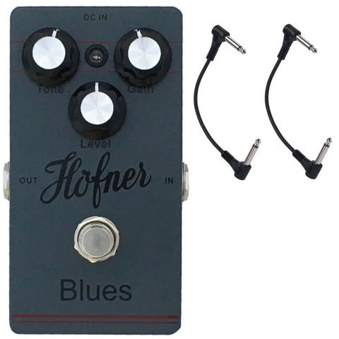 Hofner Blues Overdrive Guitar Pedal with Two Patch Cables-ThePedalGuy