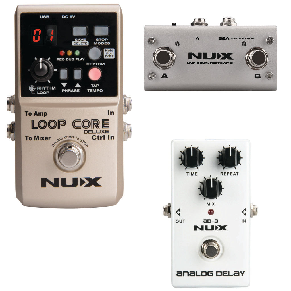 NUX Loop Core Deluxe 24-Bit Looper Pedal with NMP-2 DUAL Footswitch and AD-3 Analog Delay-ThePedalGuy