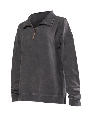 Corded Quarter Zip Pullover