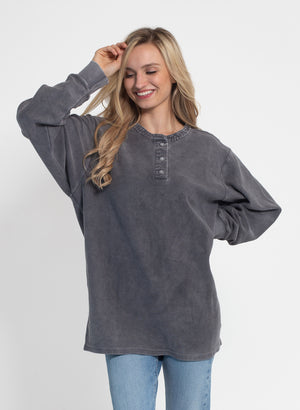 Corded Henley Pullover