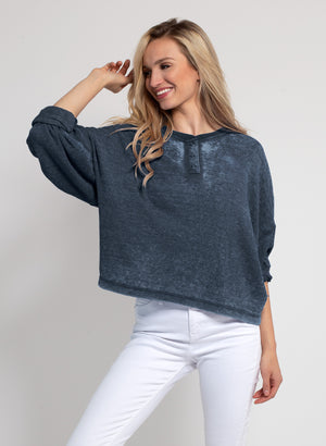 Burnout Waffle Boxy Henley Top