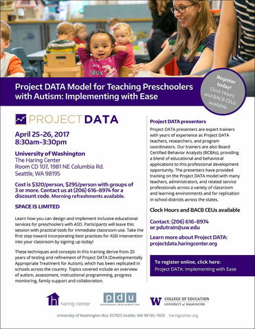 Project DATA Model for Teaching Preschoolers with Autism: Implementing with Ease — April 25-26, 2017