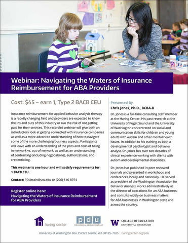 Webinar: Navigating the Waters of Insurance Reimbursement for ABA Providers