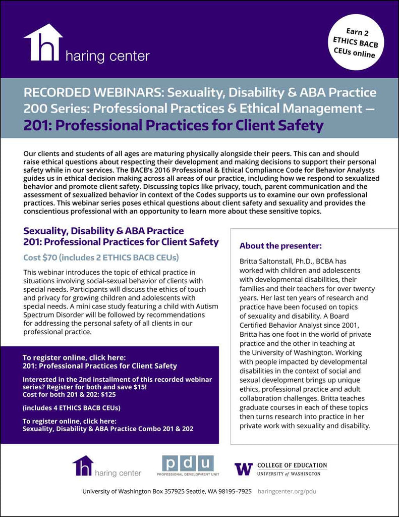 Sexuality Disability and ABA Series 201: Professional practices for client safety