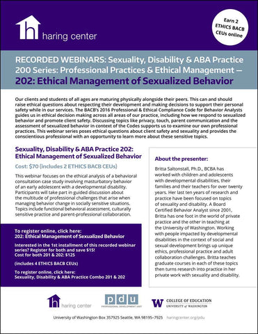 Sexuality Disability and ABA Series 202: Ethical Management of Sexualized Behavior