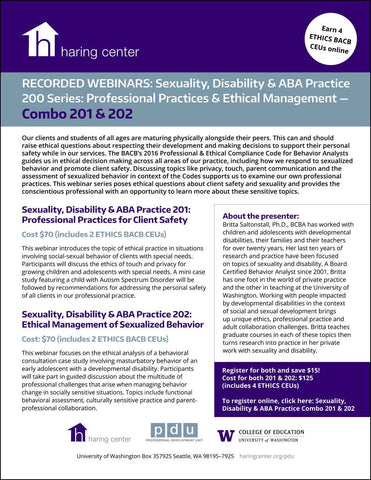 Sexuality Disability and ABA Combo Series 200: Professional Practices for Client Safety and Ethical Management of Sexualized Behavior