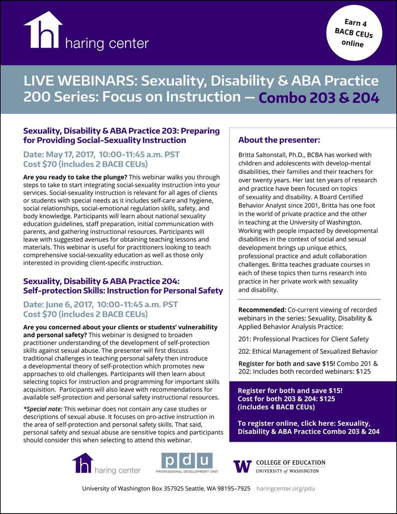Sexuality Disability ABA Practice Series Combo 200: Focus on Instruction