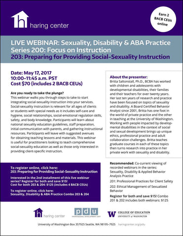 Sexuality, Disability & ABA Practice 203: Preparing for Providing Social-Sexuality Instruction