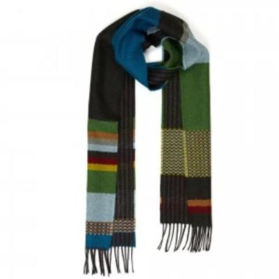 Diffusion Stripe Green Wool Scarf
