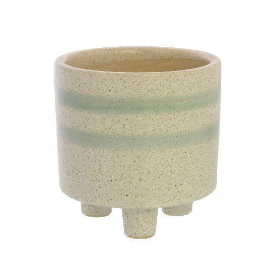 Fluorite Small White/Teal Ceramic Cachepot