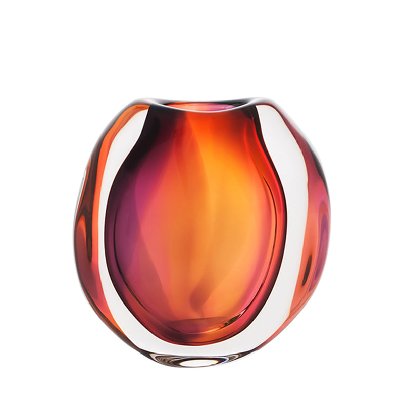 Sunset Glacier, Small Flat Round Vase