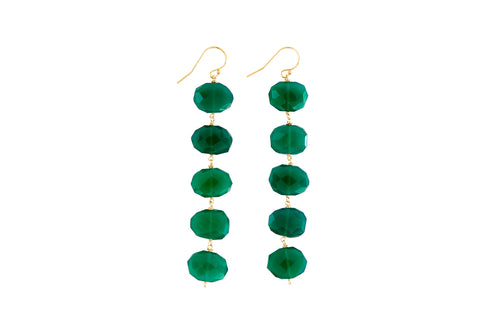 "Dania 3.5"" Green Onyx Earrings"