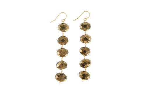 "Dania 3.5"" Pyrite Earrings"