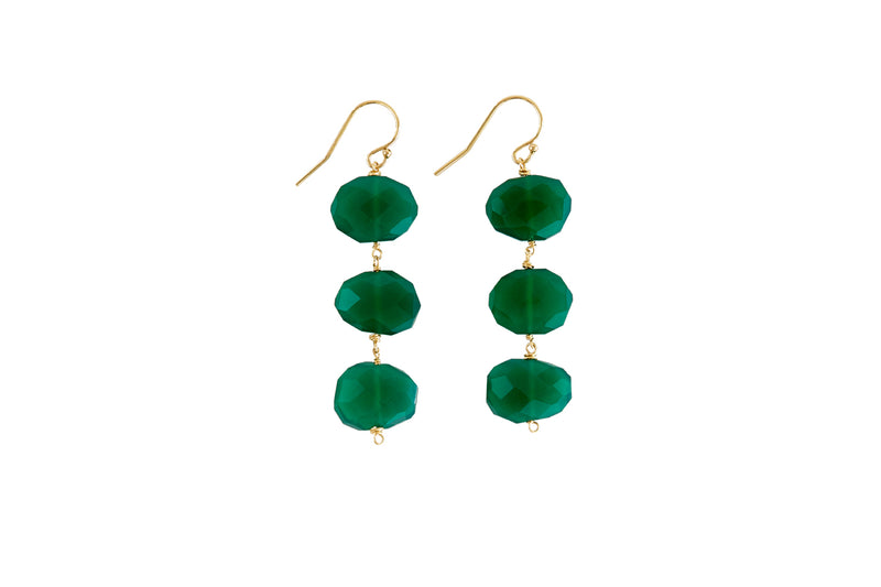 "Dania 2"" Green Onyx Earrings"
