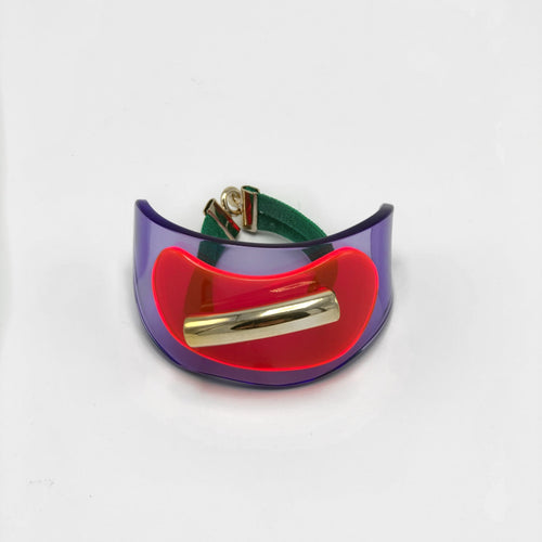 Red/Purple and Green Ribbon Plexiglas Bracelet