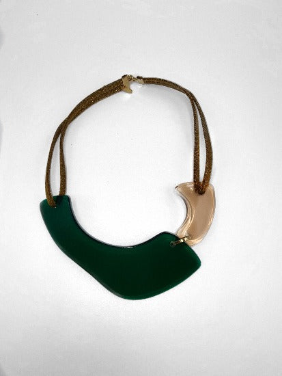 Dk Green/Champagne Gold Pleated Brass Plexiglas Necklace