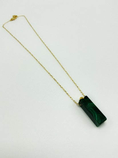 Libro Malachite Gold Pleated Brass Necklace