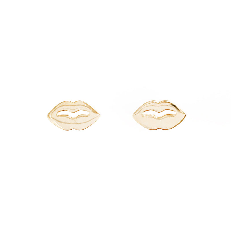 Lush Lips Studs Earrings Gold Vermeil