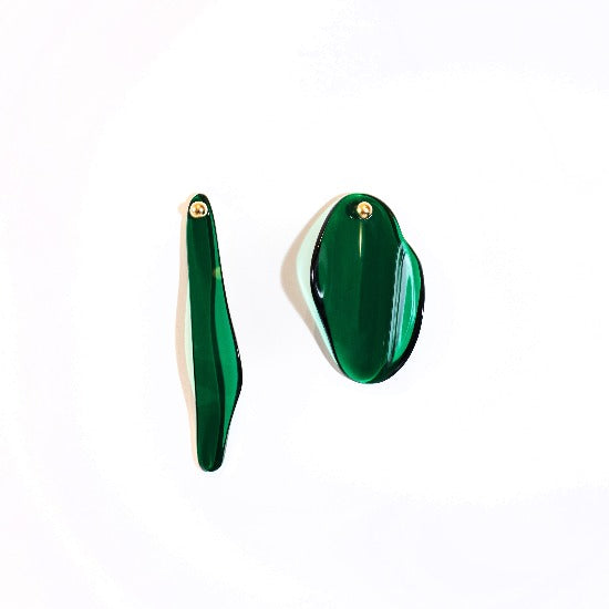 Dark Green Gold Plated Brass Plexiglas Earrings