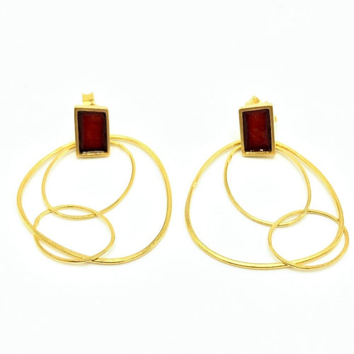 Very Thin Earrings-Gold Brick Red