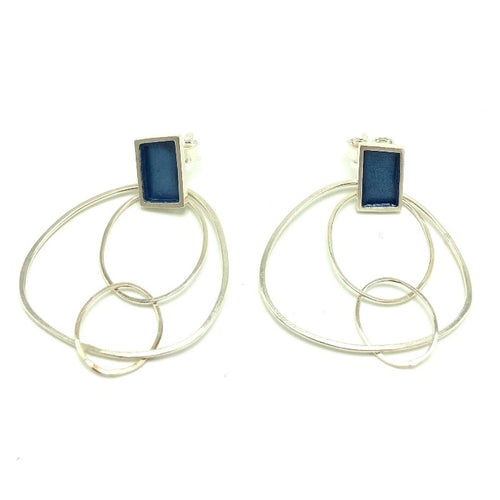 Very Thin Earrings-Silver blue