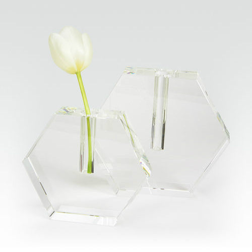 Crystal Glass Hex Flat Bud Vase Large