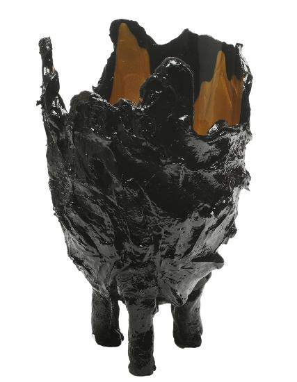 Large Black-Gold Lava Vase