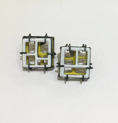 Steffi Square White/Yellow Earrings