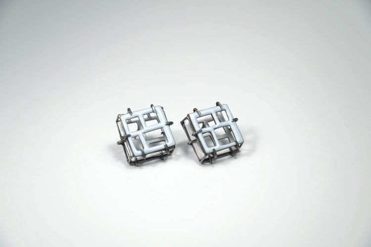 Steffi Square Blue/White Earrings