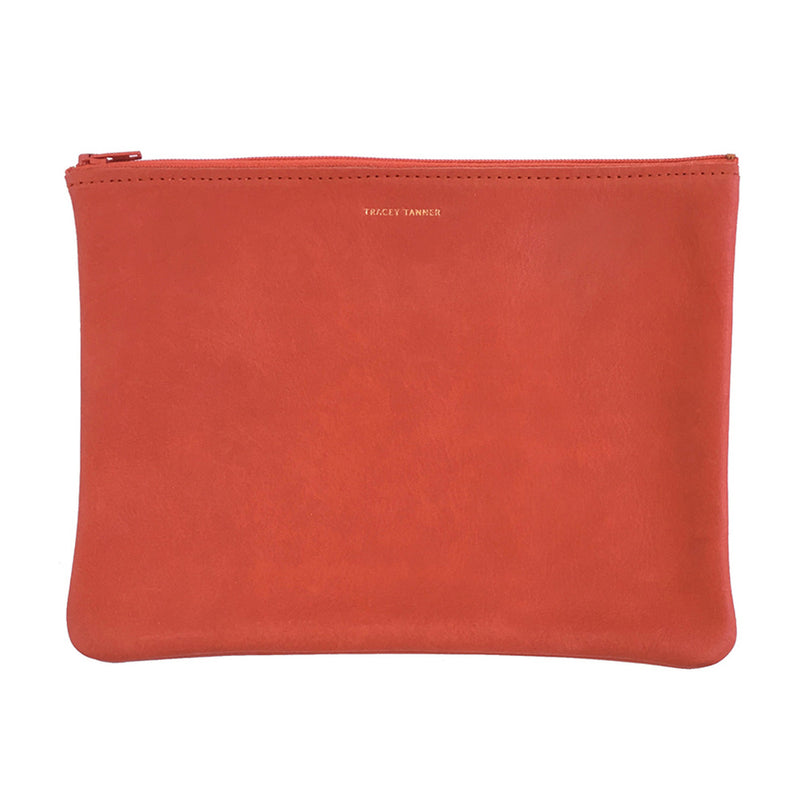 Large Flat Zip Red Basic Pouch