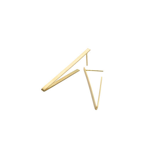 Kyla Katz Long Gold Triangle Earrings