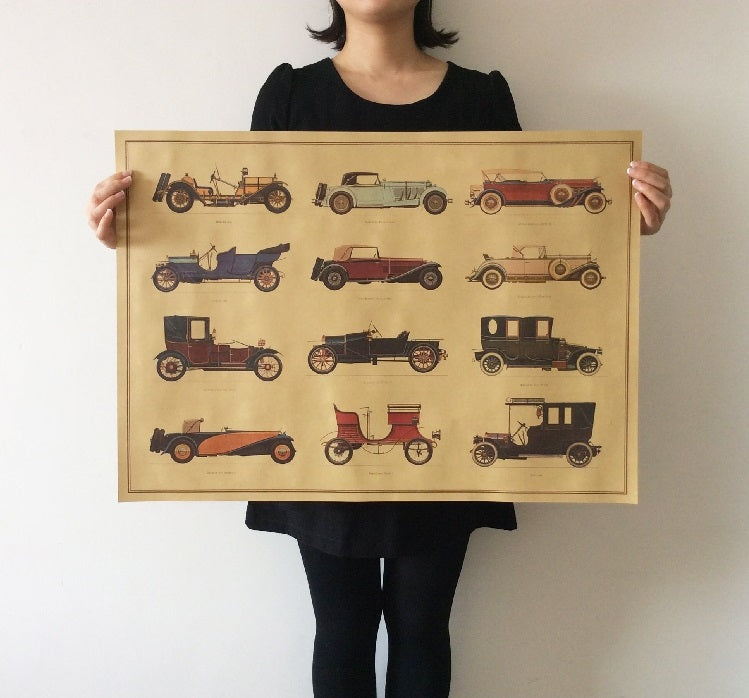 Retro Vintage Car Collection Poster