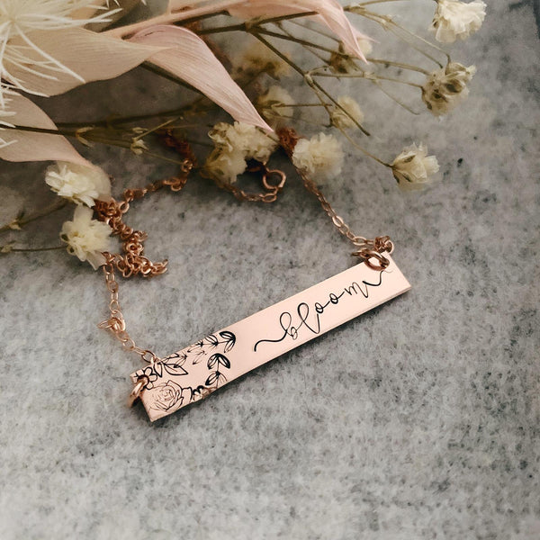 Bloom Affirmation Necklace - Standard Bar