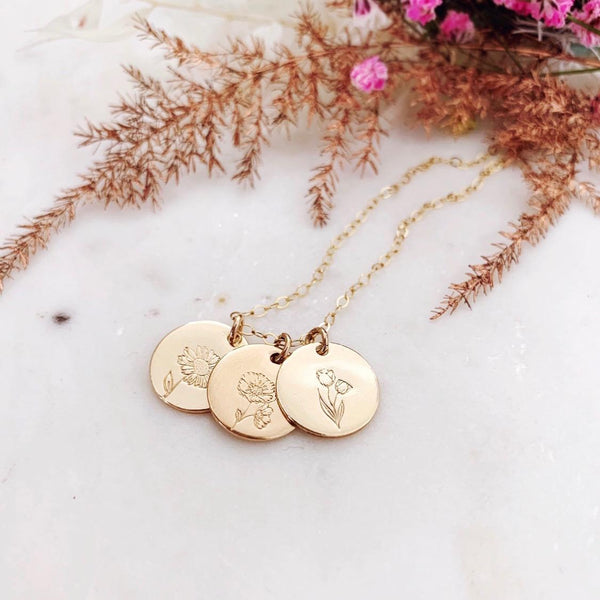 Mini Flower Series II - Birth Flowers Necklace - Triple Midi Discs