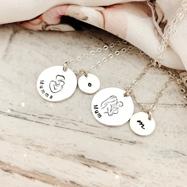 Classic Mama & Baby Disc Necklace - Large & Mini Discs