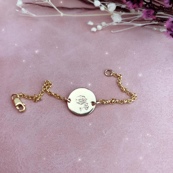 Mini Flower Series II - Birth Flowers Bracelet - Single Midi Disc