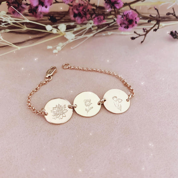 Mini Flower Series II - Birth Flowers Bracelet - Triple Midi Disc