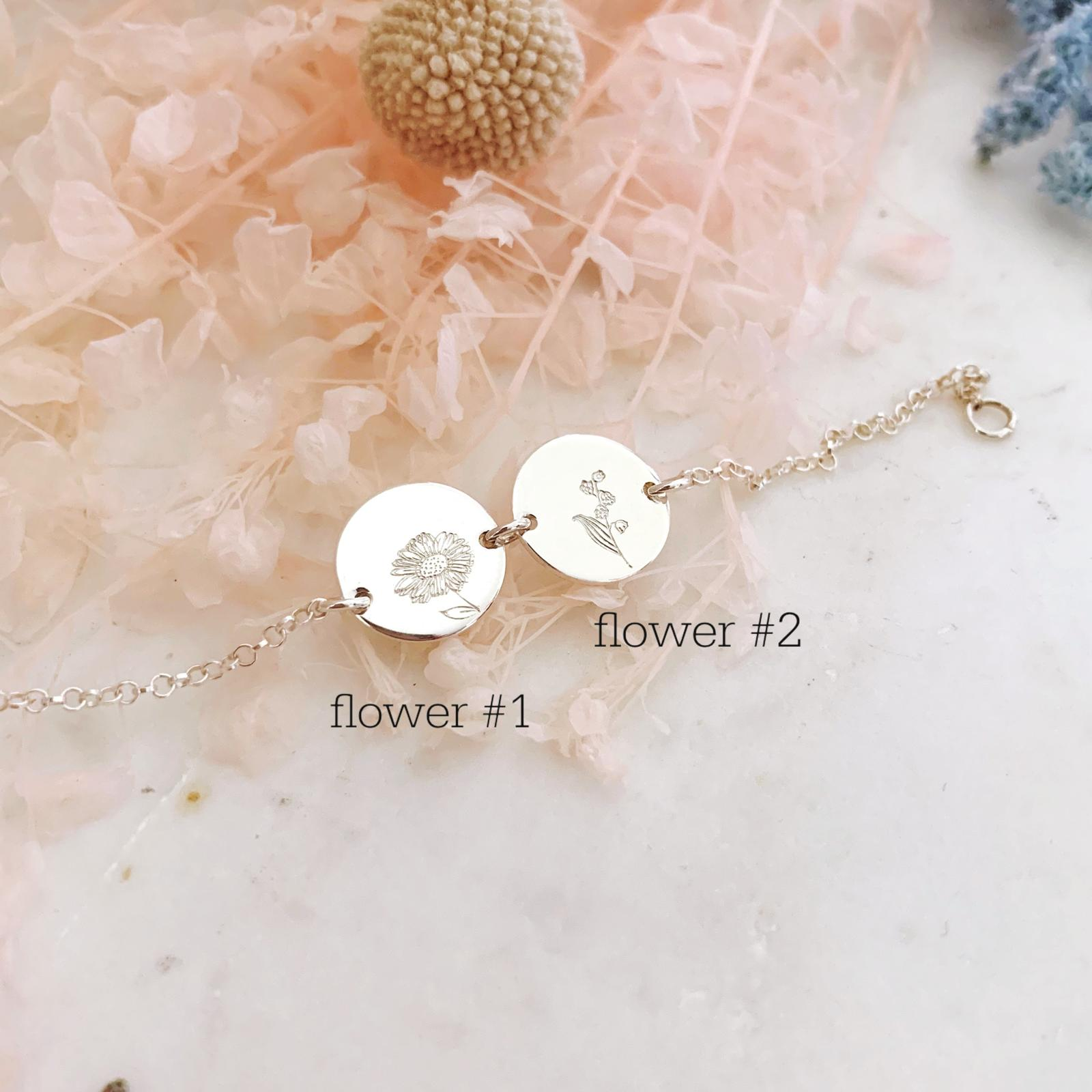 Birth Flowers Bracelet - Double Midi Disc